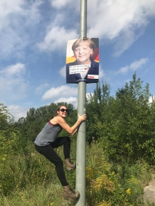 We pulled over so I could get a good pick with Angela Merkel's campaign poster